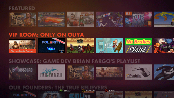 OUYA Game Menu