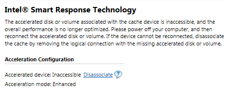 How To Fix An Inaccessible Smart Response Technology Cache - Tech