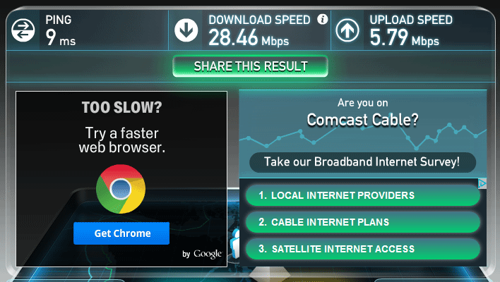 Internet Speed Test Results