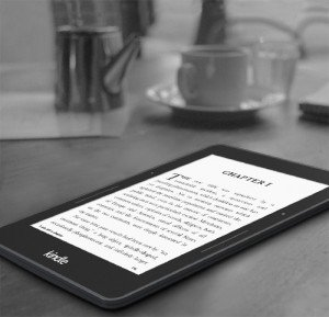 Kindle Voyage on a tablet