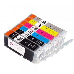 Set of replacement ink cartridges for a Canon MG inkjet printer from Sophia Global